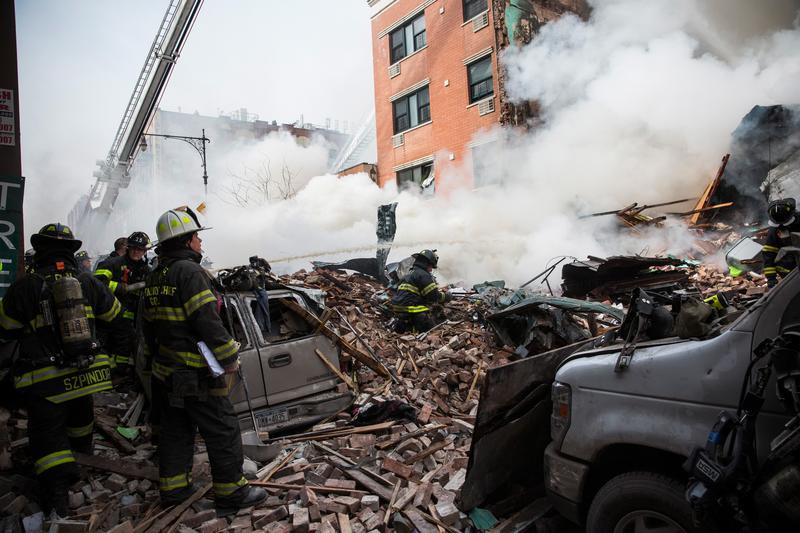 FDNY firefighters respond to a 5-alarm fire and building collapse at 1646 Park Ave in Harlem.