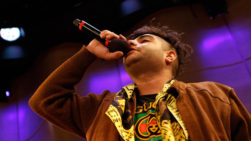 Rapper Heems performs for Soundcheck in the Greene Space.