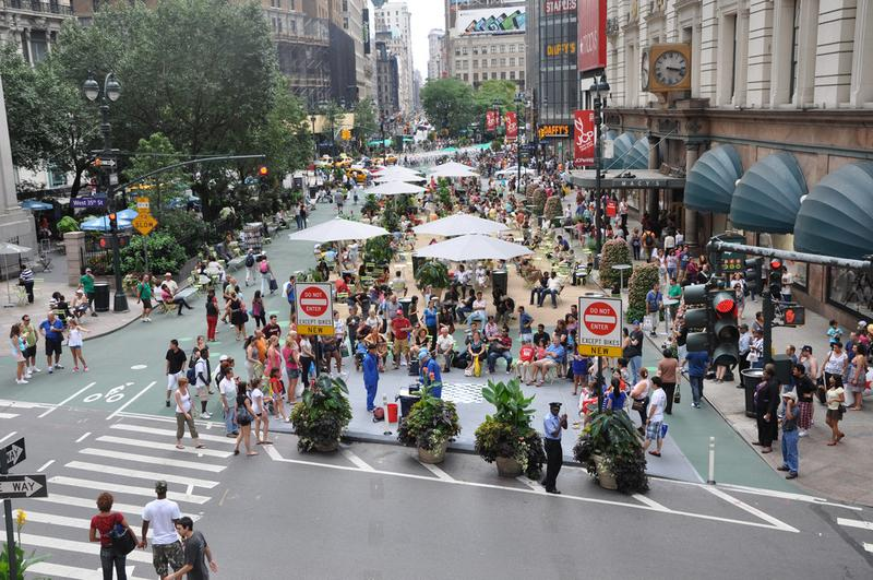 The Herald Square pedestrian plaza in front of Macy's used to be lanes of car traffic.