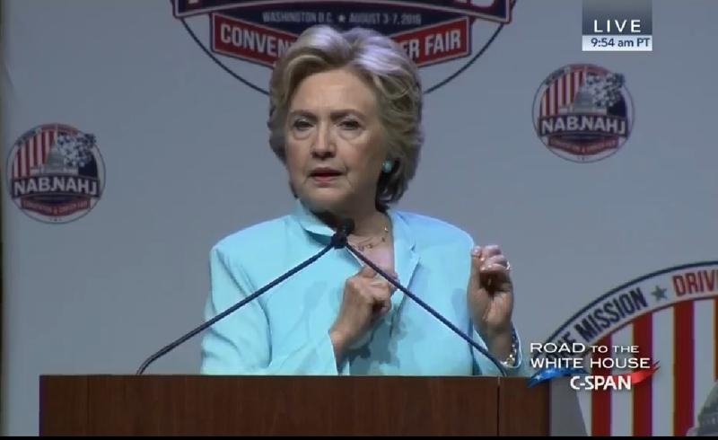 Hillary Clinton address black and hispanic journalists.