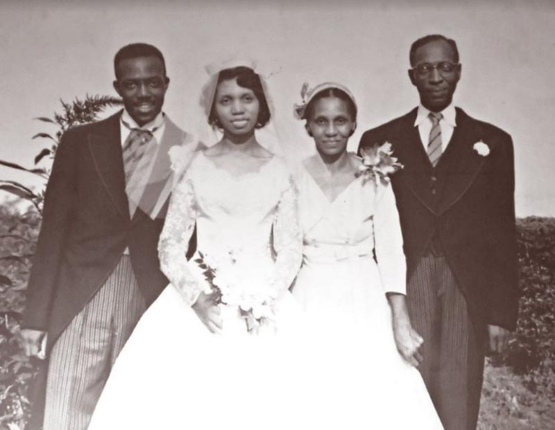 Harvey and Catherine (nee Jones) on their wedding day, Sept. 6, 1957, along with her maternal grandparents, Elizabeth and Clarence.