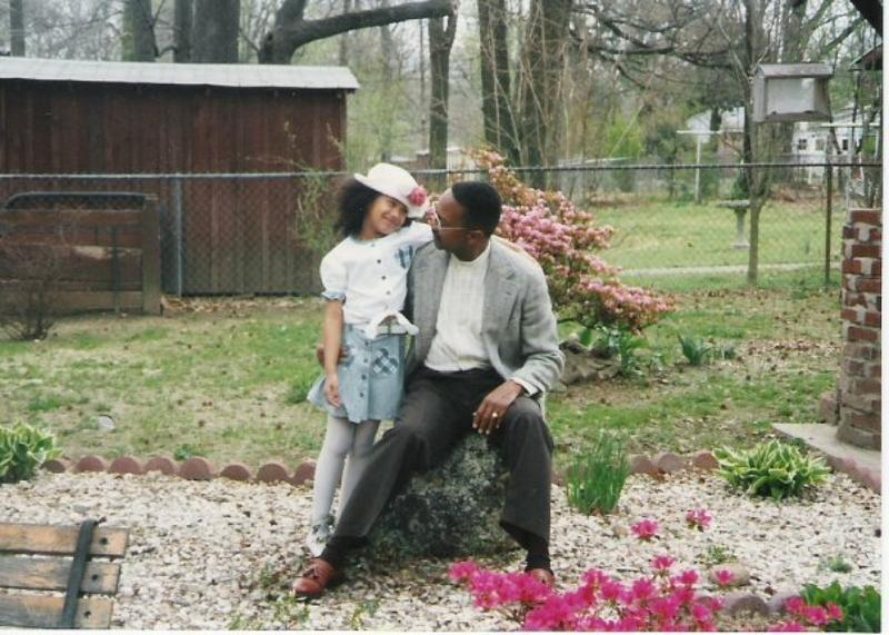 Kamille Washington and her father, pictured in 1995.