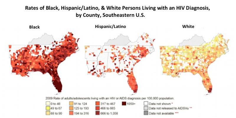 Rates of Black, Hispanic/Latino & White Persons Living with an HIV Diagnosis by County, State, Southeastern U.S.