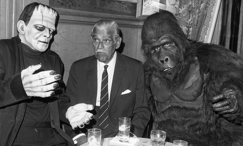 Horror movie favorites celebrate with actor Boris Karloff (center)