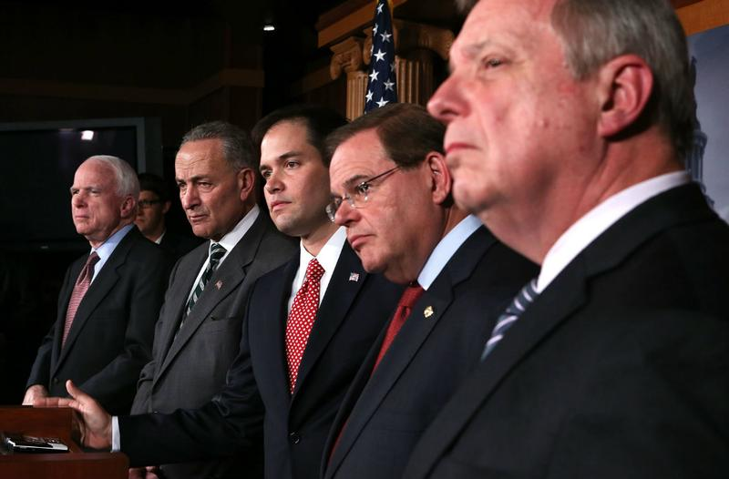 Senators McCain, Schumer, Rubio, Menendez and Durbin during a news conference on a comprehensive immigration reform framework in January