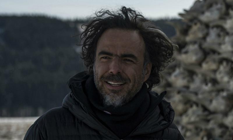 """Director Alejandro González Iñárritu on the set of his film """"The Revenant"""""""