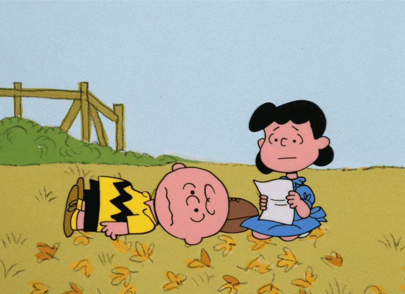 "A scene from ""It's the Great Pumpkin, Charlie Brown."""