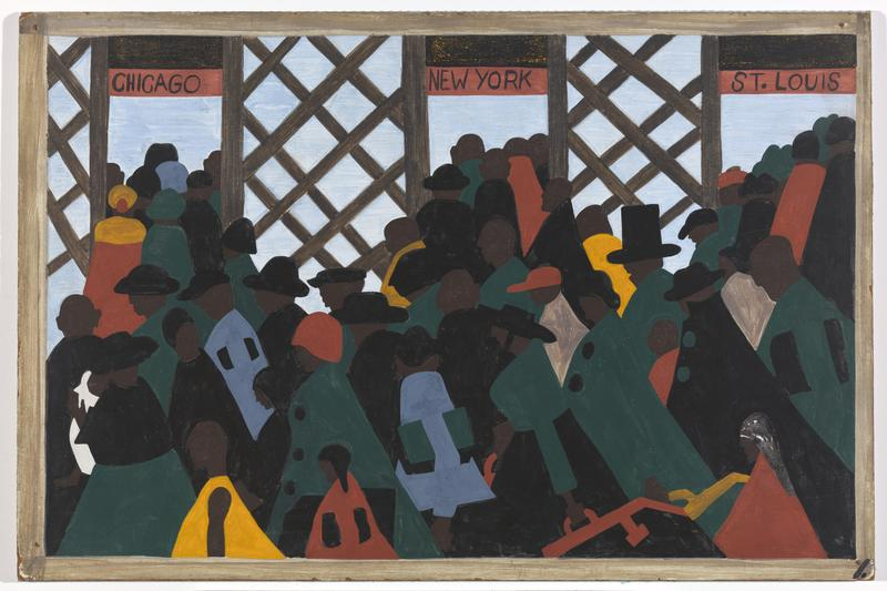 "Jacob Lawrence. The Migration Series. 1940-41. Panel 1: ""During the World War there was a great migration North by Southern Negroes."""