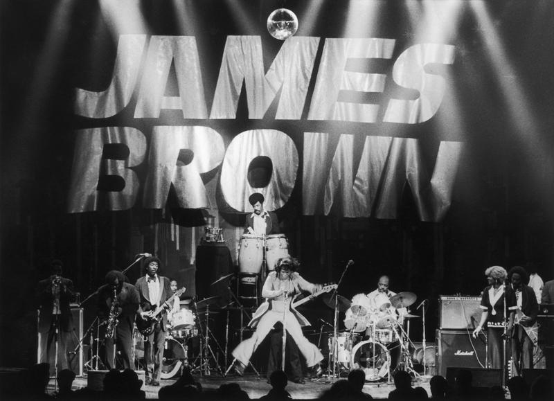 James Brown, the 'Godfather of Soul', in concert, circa 1985.