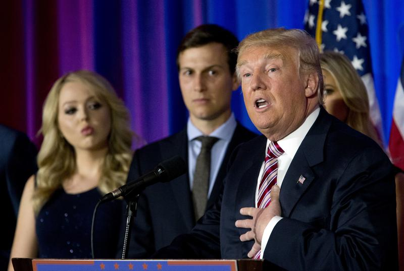 Republican presidential candidate Donald Trump is joined by his son-in-law Jared Kushner at a news conference in June at Trump National Golf Club in Westchester, N.Y.