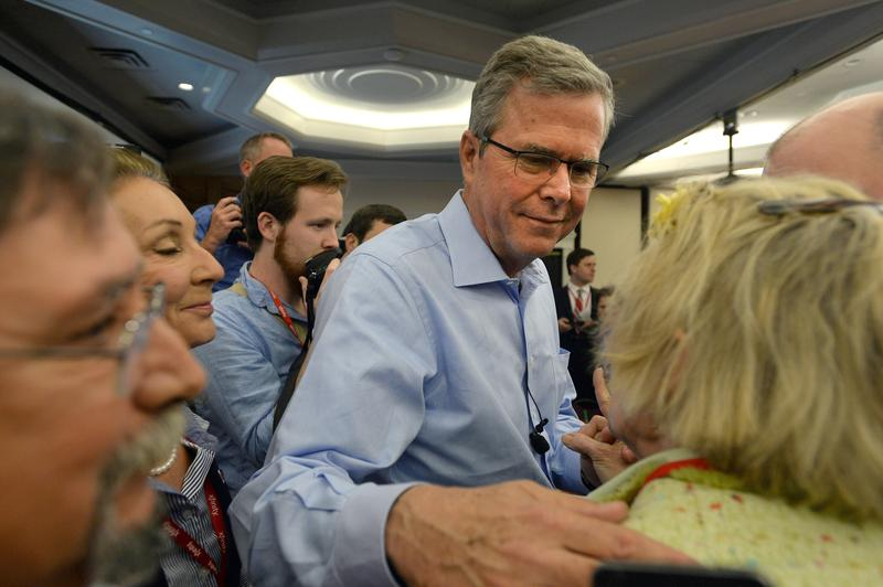 Former Florida Gov. Jeb Bush greets people after speaking at the First in the Nation Republican Leadership Summit April 17, 2015 in Nashua, New Hampshire.