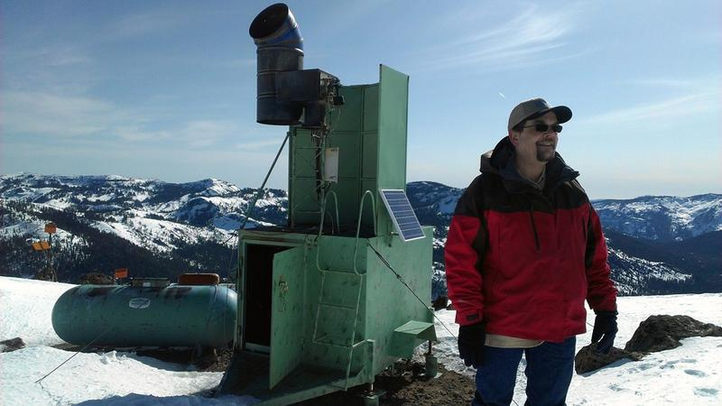 Jeff Tilley in the field at Desert Research Institute's Lake Tahoe research site