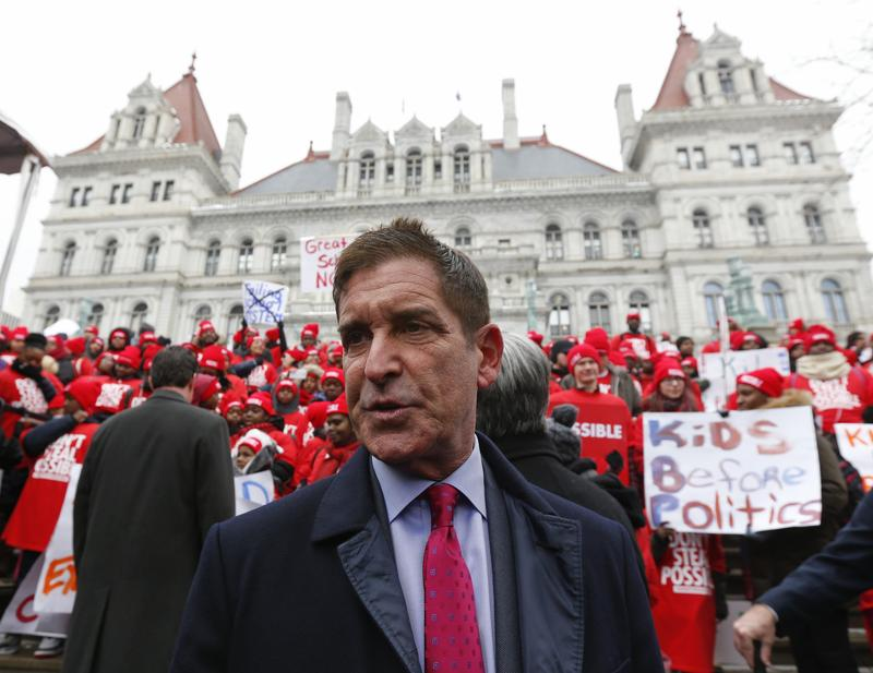 Independent Democratic Conference Leader Jeff Klein, D-Bronx, pictured during a charter school rally outside the state Capitol in 2015,  is coming under pressure with Trump in office.