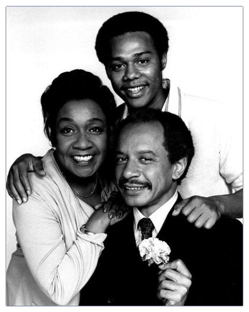Publicity photo of American actors Isabel Sanford, Sherman Hemsley and Mike Evans promoting the upcoming January 18, 1975 premiere of the television series The Jeffersons.