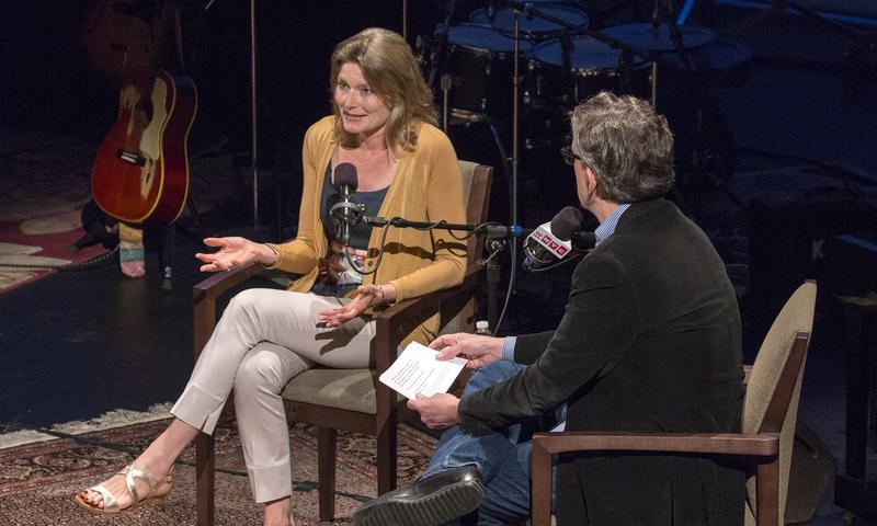 Jennifer Egan and Kurt Andersen onstage at the Brooklyn Academy of Music