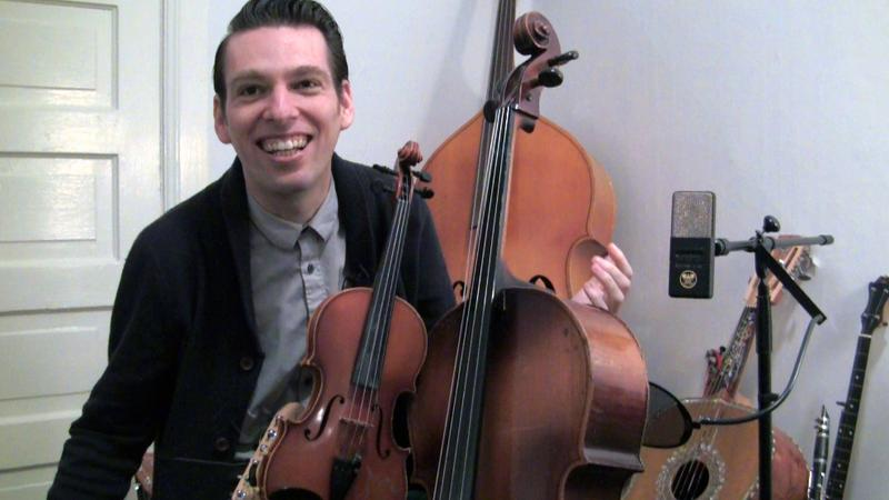 Musician and composer Jherek Bischoff in his Seattle apartment.