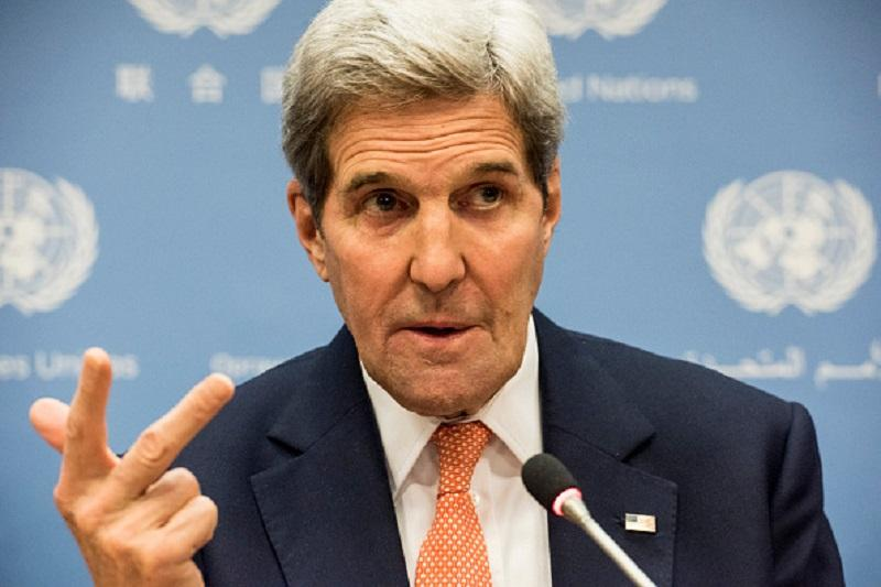 US Secretary of State John Kerry speaks at a news conference after a United Nations Security Council meeting on Syria at the United Nations in New York on December 18, 2015.
