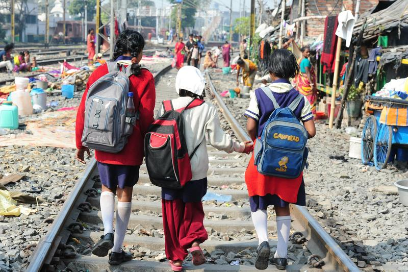Children in Calcutta, India, walking to school