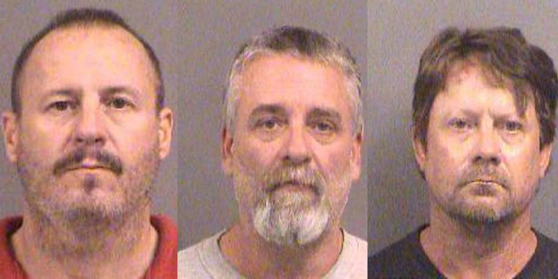 R to L: Curtis Allen, Gavin Wright, and Patrick Eugene Stein were charged in a plow to blow up a mosque in Garden City, KS. Oct. 14, 2016