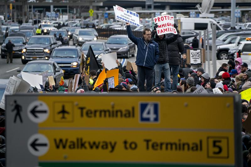 Protesters assemble at John F. Kennedy International Airport after President Donald Trump signed an executive order suspending all immigration from seven Muslim-majority countries in late January.
