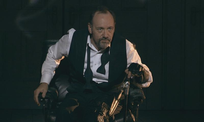 Kevin Spacey in the opening scene of <em>Richard III</em> during a performance in Epidaurus, Greece