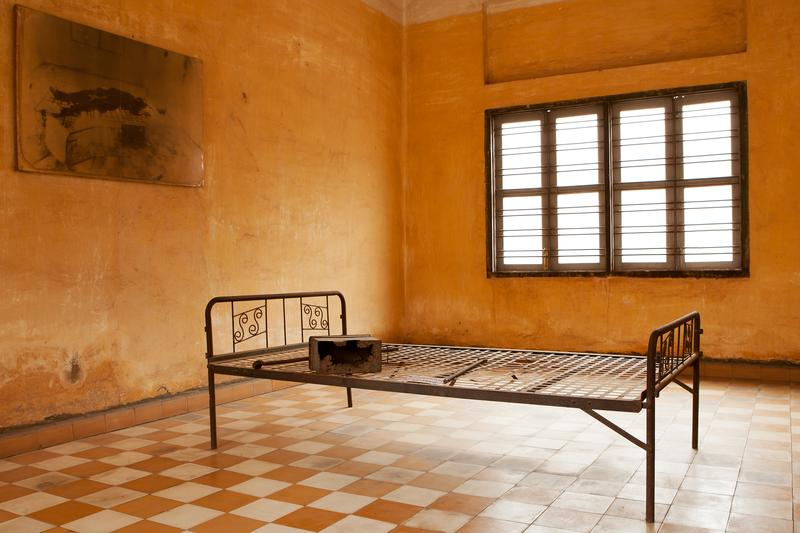 Torture bed in Khmer Rouge prison cell