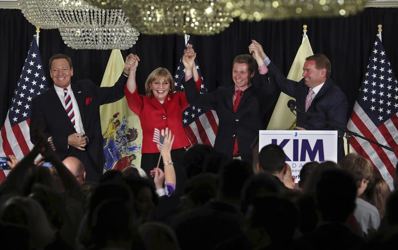 Republican Lt. Gov. Kim Guadagno celebrates at her primary election night event, Tuesday, June 6, 2017, in Long Branch, N.J.