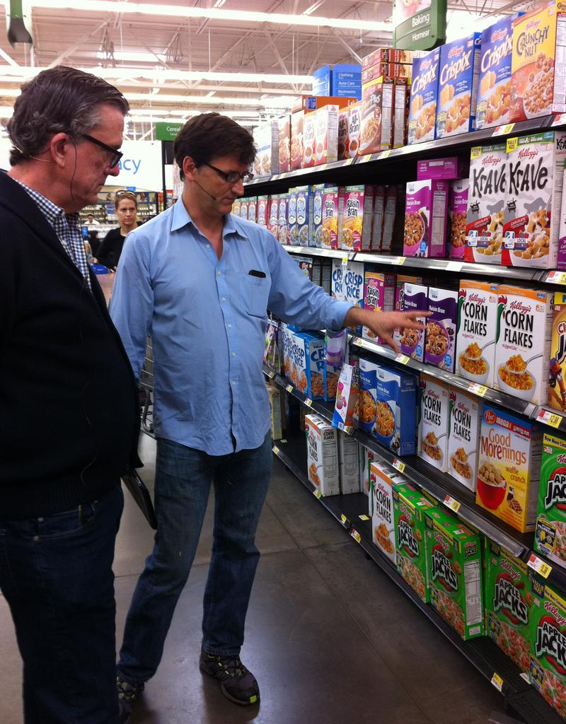 Kurt Andersen and Brendan O'Connell at a Walmart in North Bergen, New Jersey