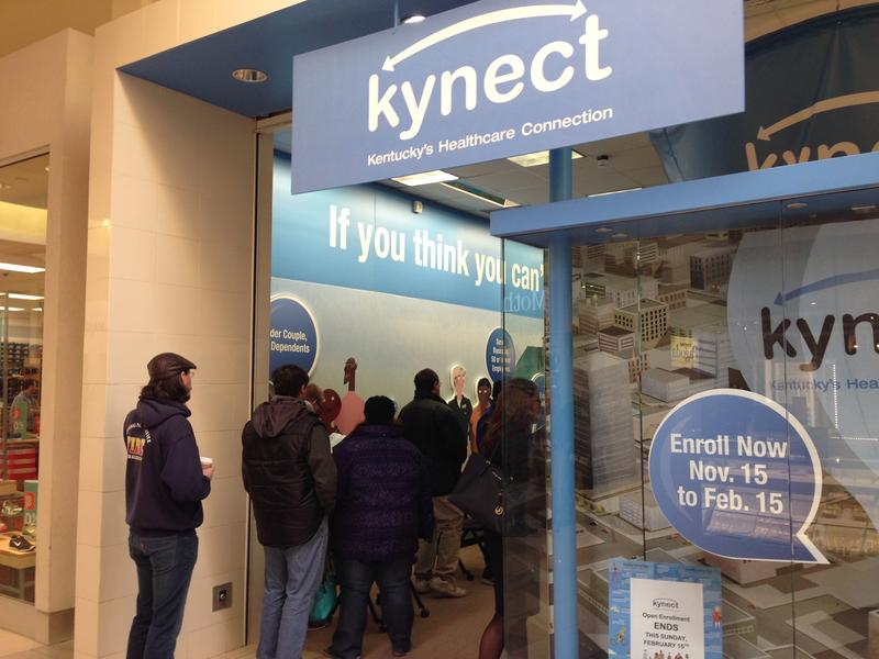 People lining up outside of the Kynect store at the Fayette Mall, Friday, Feb. 13, 2015 in Lexington, Ky., to apply for health insurance through the state exchange.