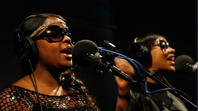 Nicole Wray and Terri Walker, who perform as Lady, sing in the Soundcheck studio.