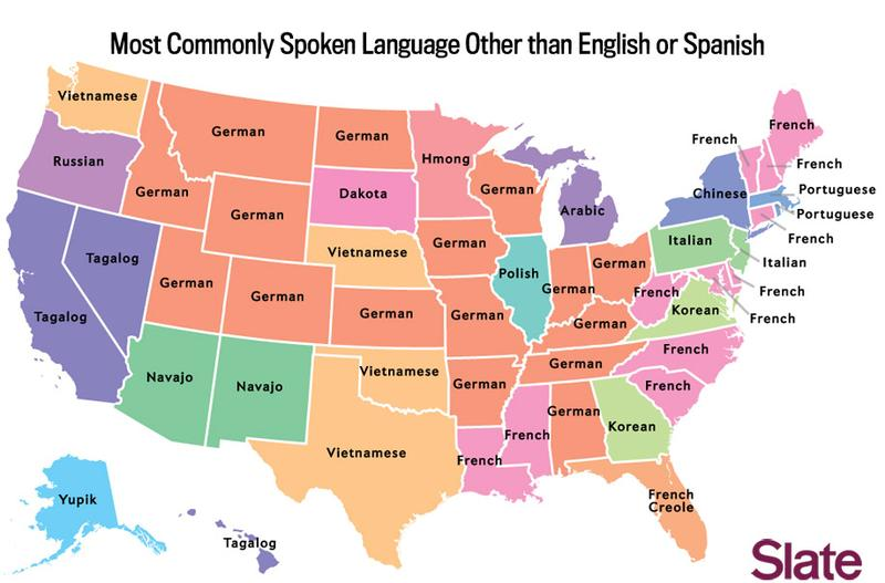 The most commonly spoken language other than English or Spanish for every state, as calculated by Slate's Ben Blatt.
