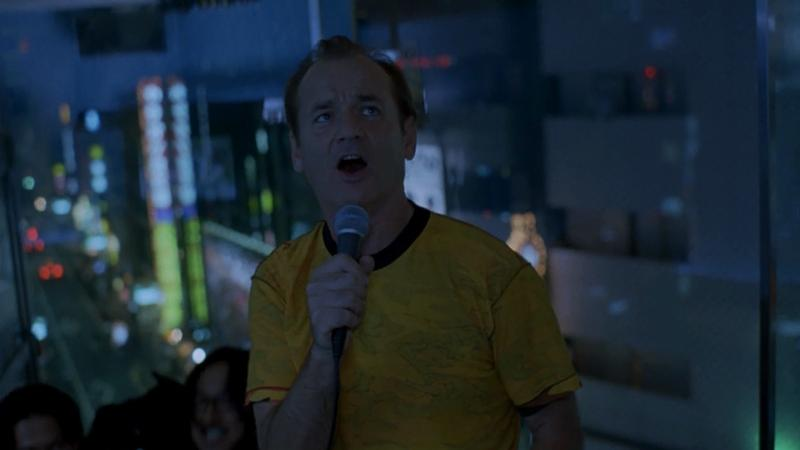"""Bill Murray, doing his hilarious, and boozy rendition of """"(What's So Funny 'Bout) Peace, Love, and Understanding"""" in the film 'Lost In Translation.'"""