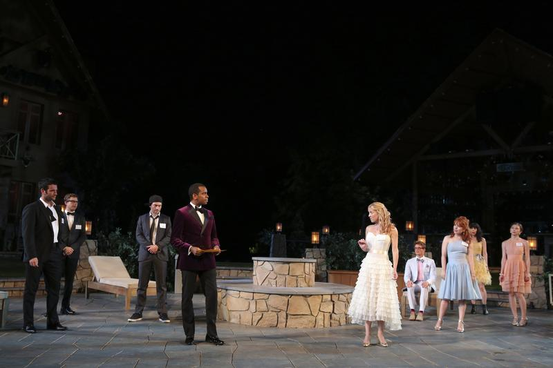 The cast of The Public Theater's Shakespeare in the Park production of <em>Love's Labour's Lost</em> at the Delacorte Theater.