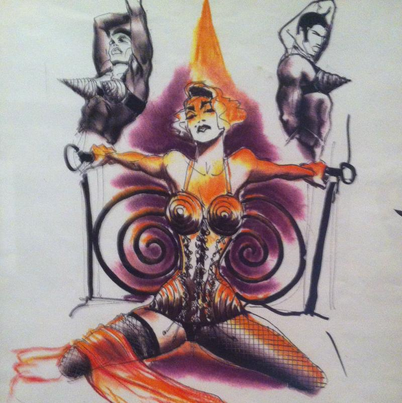 Jean Paul Gaultier's facsimile sketch for Madonna's tour in 1989
