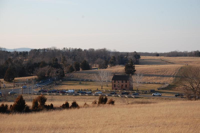 View from Henry House site down to Stone House (crossroads of Sudley Road and former Warrenton Pike, now Lee Highway/US 29)