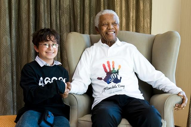 A portrait of Nelson Mandela.