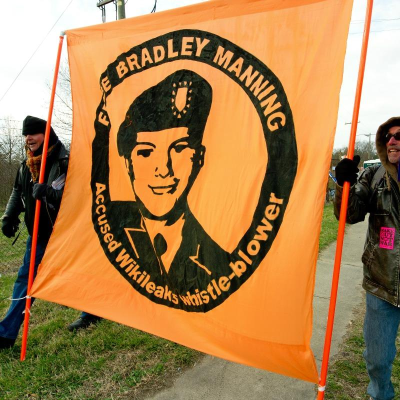 Pro-Bradley Manning protestors at Fort Meade