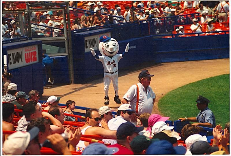During a routine, AJ Mass as Mr. Met.