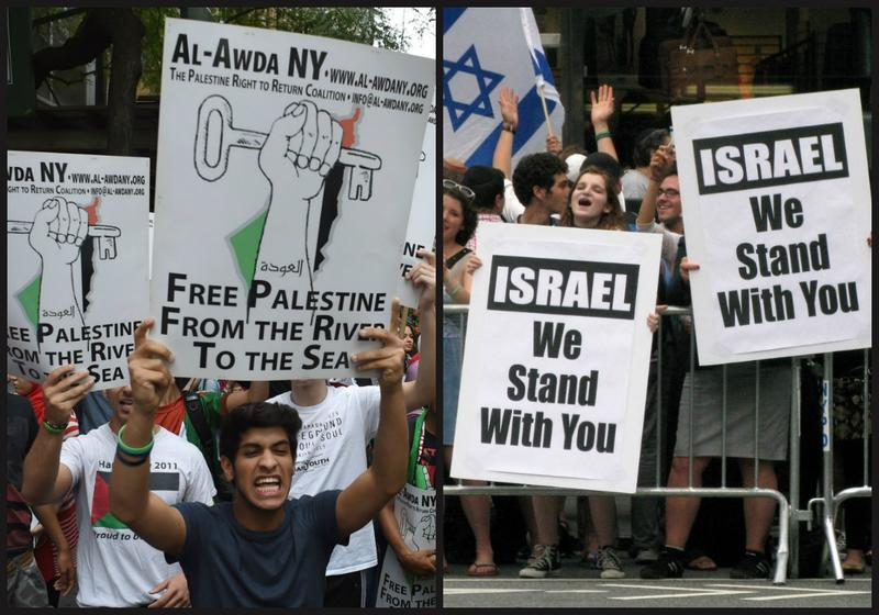 Pro-Palestinian and Pro-Israeli protesters outside the Israeli consulate in New York.