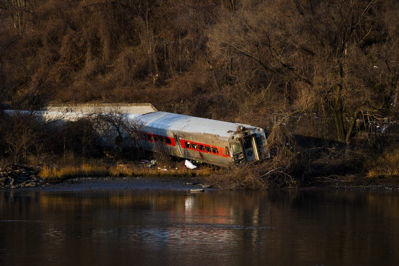 A Metro-North train following its derailment in the Bronx