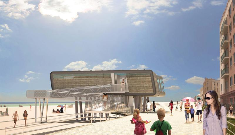 An example of the modular comfrot stations coming to New York City beaches this month.
