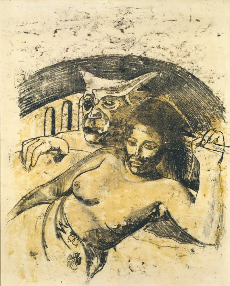 Paul Gauguin (French, 1848–1903). Tahitian Woman with Evil Spirit, recto. c. 1900.