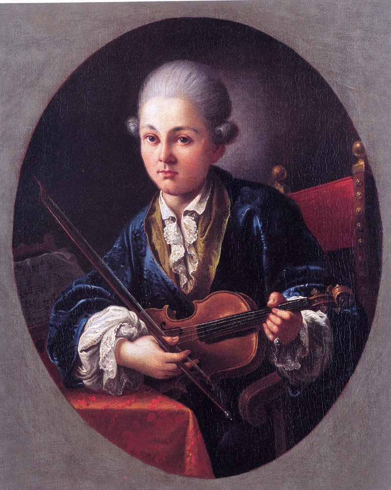 Painting of Mozart with his violin.