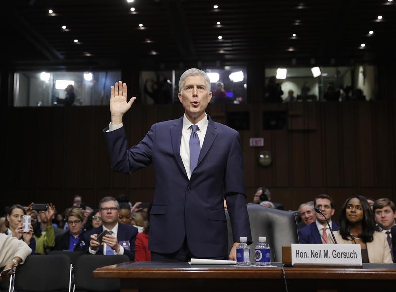 Supreme Court Justice nominee Neil Gorsuch is sworn-in for his Senate confirmation hearing on Capitol Hill on Monday, March 20, 2017