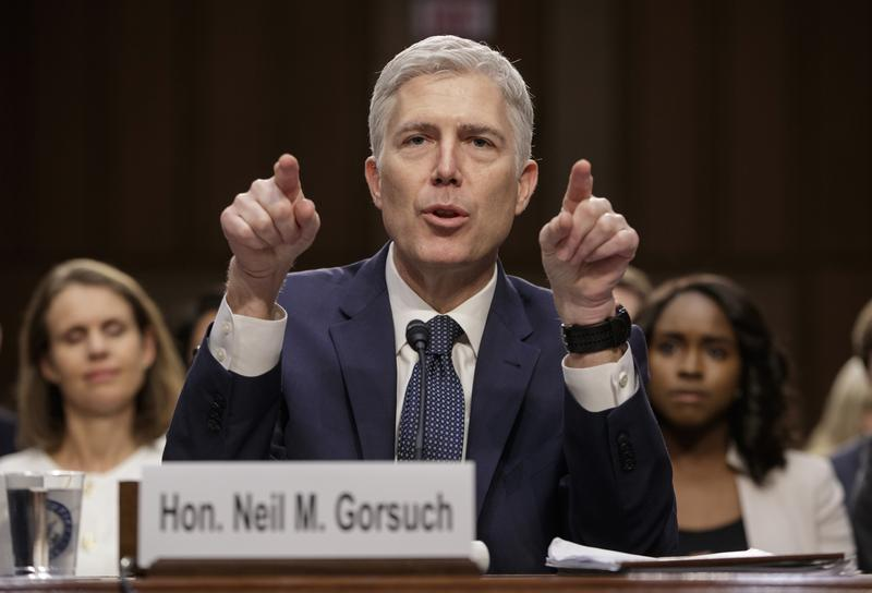 Supreme Court Justice nominee Neil Gorsuch testifies on Capitol Hill in Washington, Wednesday, March 22, 2017.