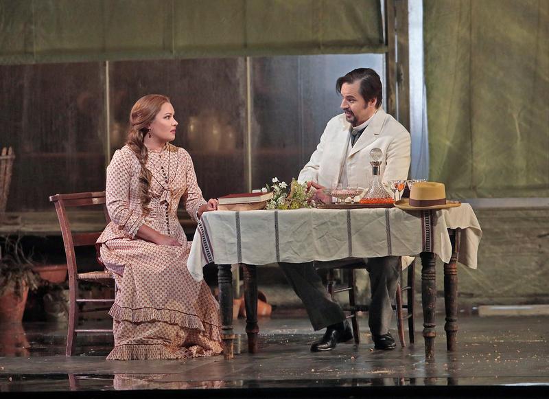 Anna Netrebko as Tatiana and Peter Mattei as Onegin in Tchaikovsky's Eugene Onegin