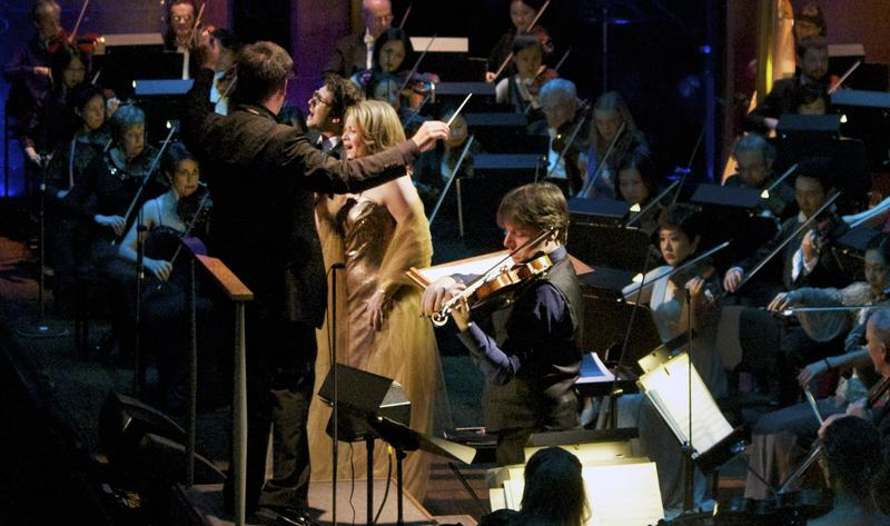 Alan Gilbert conducts the New York Philharmonic and guest soloists violinist Joshua Bell, soprano Renée Fleming and singer Josh Groban in a song from the film 'Cinema Paradiso.'