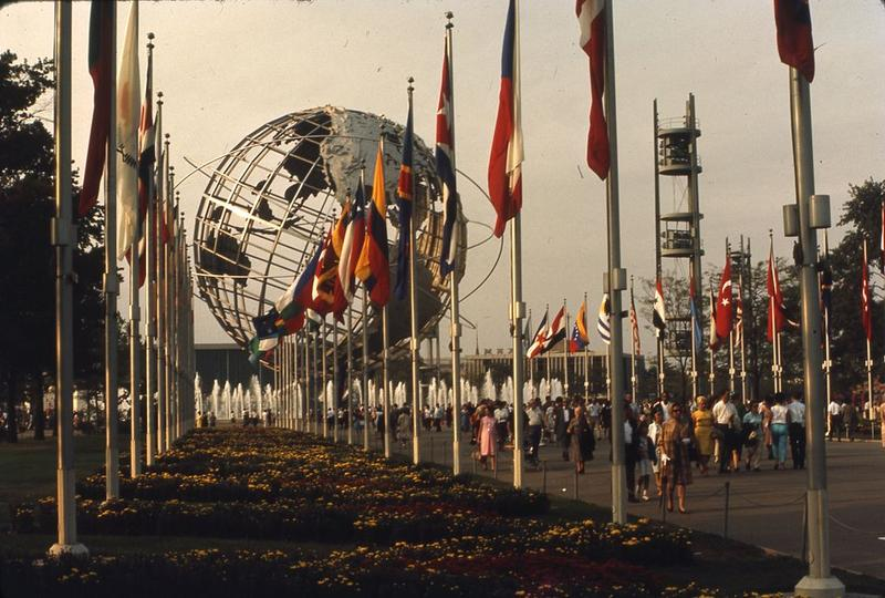 World's Fair 1965. View of the Unisphere with world flags