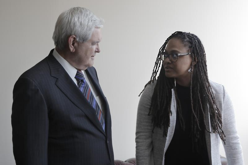 """Former House Speaker Newt Gingrich with Ava DuVernay, the director of the documentary """"13th."""""""