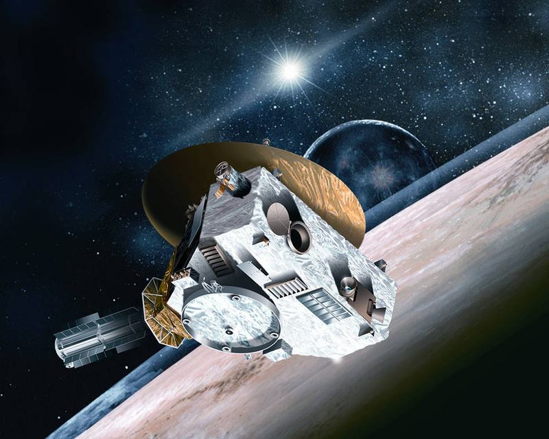"""Illustration: What's icy, has """"wobbly"""" potato-shaped moons, and is arguably the world's favorite dwarf planet? The answer is Pluto, and NASA's New Horizons got to see it in real life."""